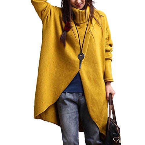 Feixiang maglione donna moda donna dolcevita asimmetrico orlo manica lunga maglione,maglieria lana (m, giallo)