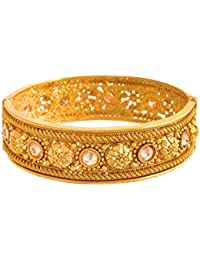 JFL - Traditional & Ethnic One Gram Gold Plated Diamond Designer Openable Kada For Women & Girls