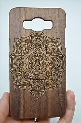 RoseFlower® Coque Samsung Galaxy A7 en Bois Véritable - Noyer