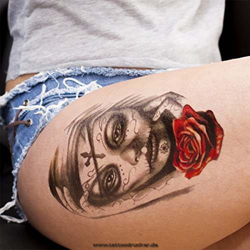 1 x Frau Schädel Totenkopf Rose Tattoo - Fake Temporäres einmal Körpertattoo HB107 (1)