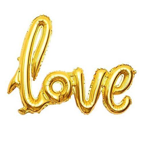 n XXL Herz Love Heliumgeeignet Party Geburtstag Jahrestag Hochzeitstag Jubiläum Luftballon (Love Gold) ()