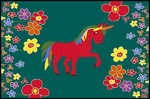 Fußmatte, Schmutzfangmatte 90 x 60 cm, wash + dry, Blumenwiese grün Einhorn
