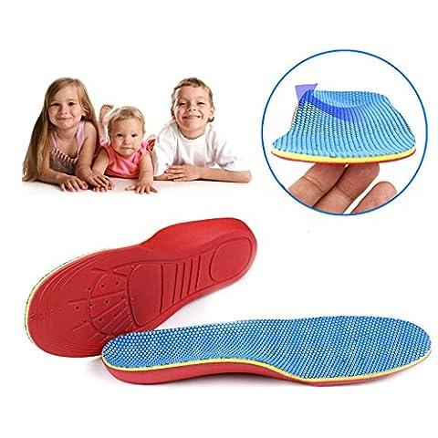 qiansheng Paar Volle Länge Einlegesohlen mit Arch Unterstützung flach Füße Plattfuß Korrektur Fuß Schmerzlinderung Schuh Einlagen für Kinder Kinder Füße, M: 28-31 size(18.3-19.3cm)