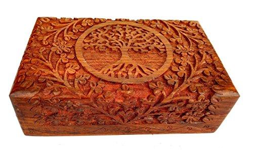 Rastogi handicrafts, scatola in legno pregiato intagliato a mano, con albero della vita, per gioielli, stile indiano