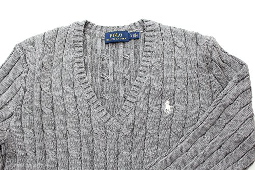 Polo Ralph Lauren Cable Knit V-Neck Cotton Pullover Kimberly Grau weißer Reiter Grau (Fawn Grey)