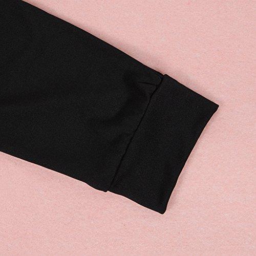 West See Damen Langarmshirt V-Ausschnitt Bluse Oberteile mit Reißverschluss Casual Tops Schwarz
