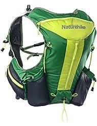 Naturehike Mochila de running Marathon Ciclismo Bolsas de nailon ultraligero Running hombro bolsas de equitación chaleco para hombres y mujeres mochila, verde