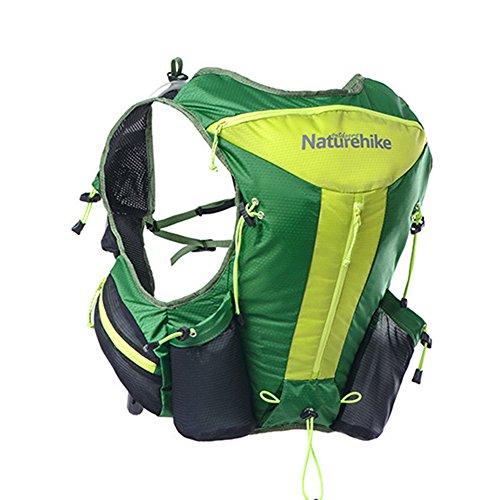 Naturehike 12L Wasserdichte Funktionelle Laufweste Pack Ultraleicht Trinkrucksack für Laufen Radfahren Marathon(grün)