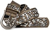 styleBREAKER Nieten Gürtel im Vintage Style mit echtem Leder, kürzbar 03010008, Farbe:Matt-Metallic Oliv-Braun;Größe:100cm