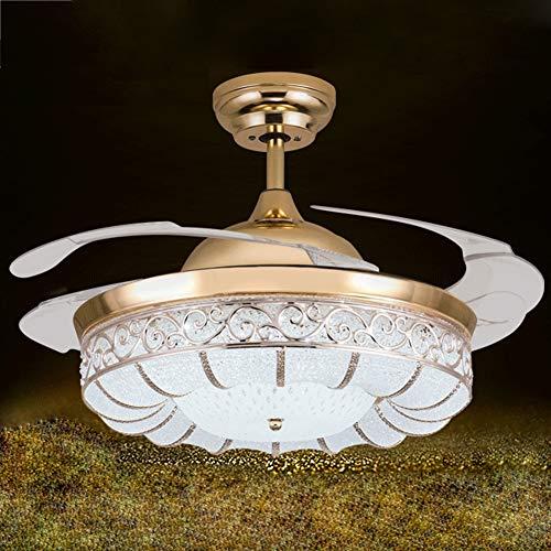 Pearl of the palm Ventilatore da soffitto con Kit Luce LED, Telecomando 4 lampadari a Lame retrattili acrilici, Ventilatore Elettrico Muto retroilluminato Fan Lampada dimmerabile, 42 Pollici