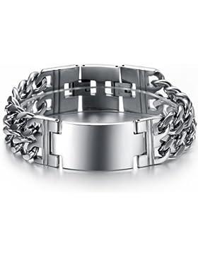 OPK Jewellery Fashion Leistungsstark Edelstahl Herren Armbänder Personalisierte Glatte Silber Armband 22cm Breite...