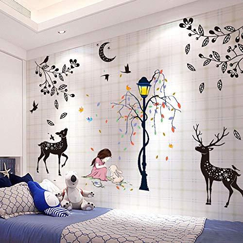MEIWALL Chevet 3D Girl Teenage Heart Deer and Girl Stickers muraux amovibles pour enfants chambre d'enfant chambre salon cuisine enfants chambre mur art décor autocollant