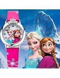 RJM Montre Quartz Fille Frozen Princesse des neiges Elsa et Anna Bracelet Cuir Rose Mode Fille étudiante (Cadran affichante Elsa et Anna)