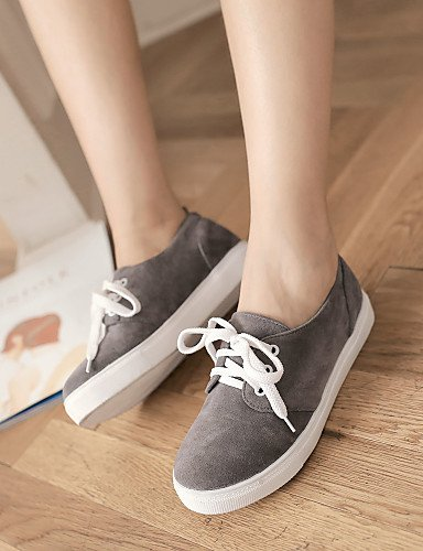 ZQ hug Scarpe Donna - Stringate - Casual - Punta arrotondata - Piatto - Finta pelle - Nero / Marrone / Giallo / Rosso / Grigio , gray-us8 / eu39 / uk6 / cn39 , gray-us8 / eu39 / uk6 / cn39 brown-us5 / eu35 / uk3 / cn34