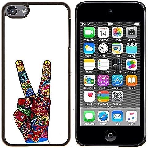 Vittoria Gesto con la mano bianca astratta - Aluminum Metal & plastica dura Phone caso - nero - iPod Touch 6