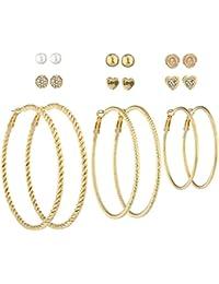 LUX accesorios para mujer en color plateado y rosa tono de oro aro Multi pendientes Set