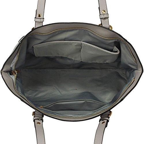 LeahWard® Große Größe Schultertaschen Zum Damen mode Berühmtheit Stil Damen Einkaufstasche Essener Tote Handtasche A4 350 Weiß/Grau Schultertasche