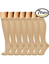 Calcetines de Compresión (7 pares) para Mujeres y Hombres para Médicos, Enfermería,