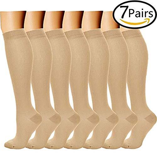Calcetines de Compresión (7 pares) para Mujeres y Hombres Medias de Compresión (Negro,L/XL)