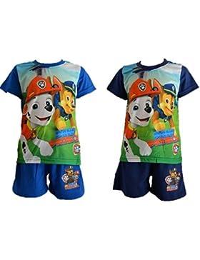 Spin Patrulla Canina - Conjunto de Verano Pijama Corto Color Azul, Paw Patrol Pantalón y Camiseta Manga Corta