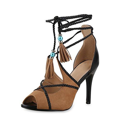 SCARPE VITA Damen Sandaletten Fransen Zierperlen High Heels Stilettos Schuhe  165292 Hellbraun Quasten 38 1e2ca251ce