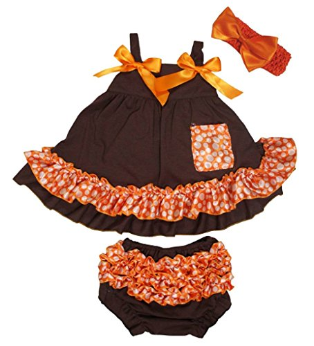petitebelle braun Polka Dots Orange Swing Top Bloomer Hose Set für Baby nb-24m Gr. S, braun -