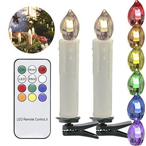 20 Set LED Kerzen Warmweiß Baumkerzen Weihnachtskerzen mit Infrarot Fernbedienung, Timerfunktion, Classic beige, Kerzenlichter Flammenlose (2 Regal-drucker Stehen)