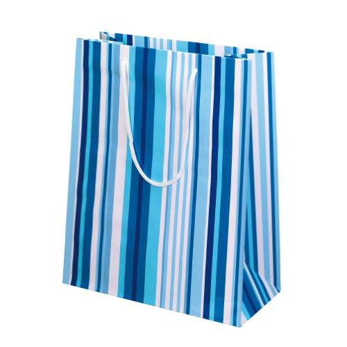 eschenktaschen, 10-er Packung, glänzendes Papier, Motiv Colors of stripes, blau (Weiß-glänzenden Geschenk-taschen)