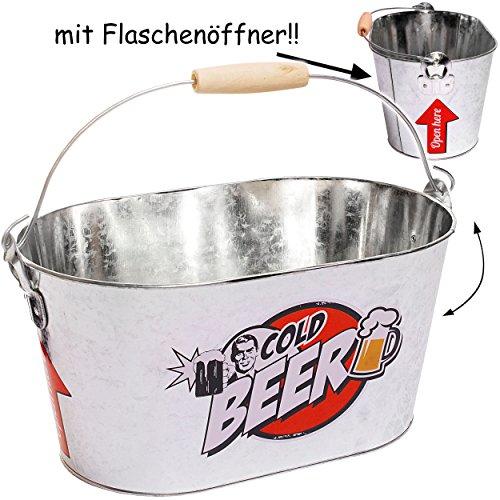 eiswanne alles-meine GmbH großer ovaler Eiseimer / Getränkekühler -  Cold Beer  - mit Henkel - aus Metall - inkl. 2 Flaschenöffner - Flaschenkühler - Metalleimer . z.B. für Bier - Sa..