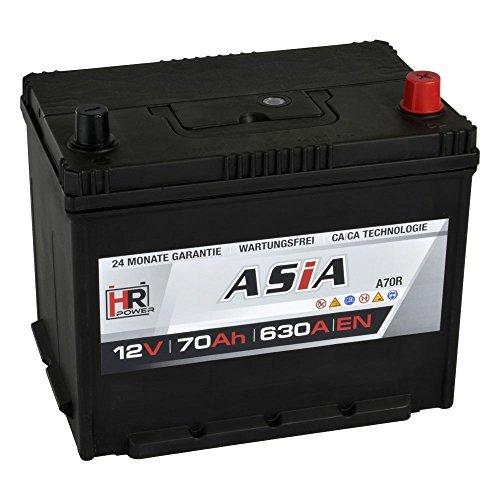 HR HiPower ASIA Autobatterie 12V 70Ah Japan Pluspol Rechts Starterbatterie ersetzt 50Ah 65Ah 70Ah 80Ah