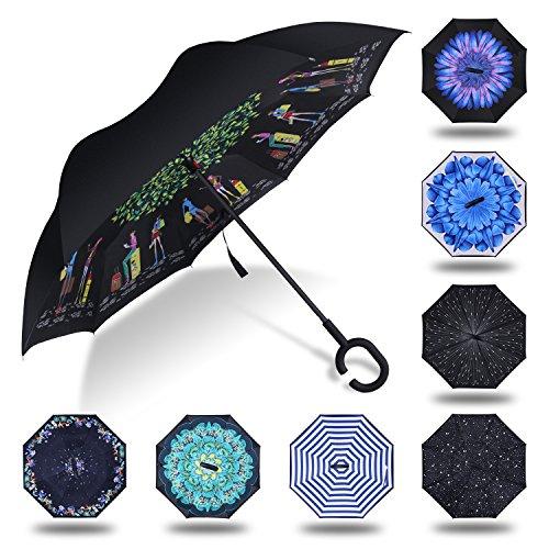 HISEASUN Parapluie Inversé Innovant Anti-UV Double Couche Coupe-Vent Mains Libres poignée en Forme C - Idéal pour Voyage et Voiture (Voyage d'amour)