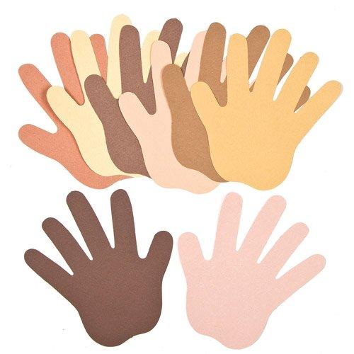 (Hände aus Papier in verschiedenen Hautfarben für Kinder zum Bemalen und Verzieren (50 Stück))
