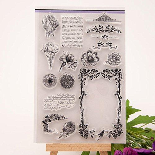 Blume Thema Scrapbooking transparent Briefmarken Silikon Transparent Tabelle DIY Karte Geschenk ()