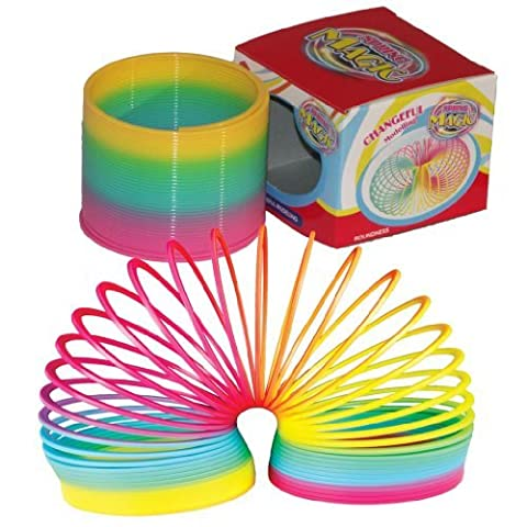12 RETRO RAINBOW NEON COLOURED PLASTIC SPIRAL SLINKYS SPRING PARTY BAG GIFT TOY