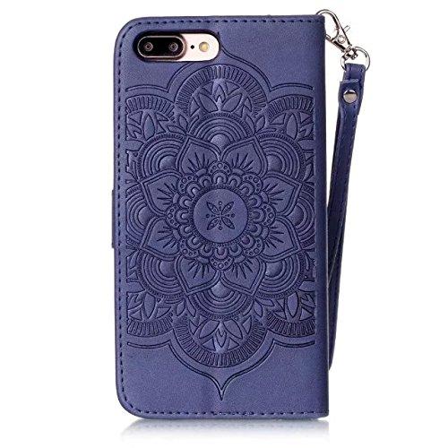 Cover iPhone 7 Plus,iPhone 8 Plus Coque,Valenth Leather Wind Chimes Partern Etui [Slots pour cartes] Coque Etui de protection pour iPhone 8 Plus / iPhone 7 Plus 3#