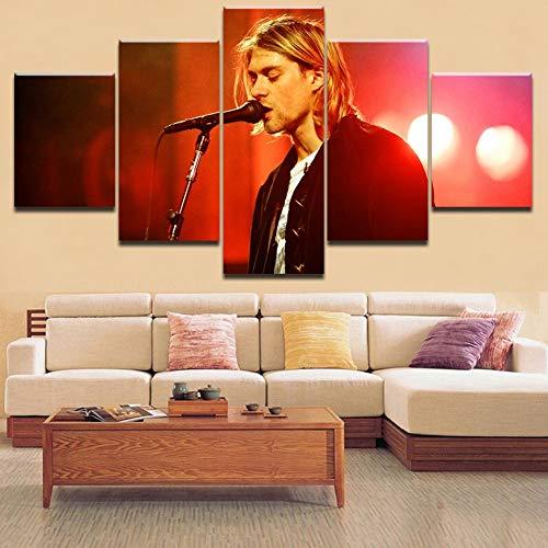 JSBVM 5 Paneles Lona HD Impreso Pintura Kurt Cobain