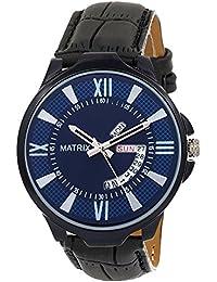 Matrix Silvermine Analog Blue Dial Wrist Watch Day & Date Display For Men & Boys- (DD-BL-LTH-2)
