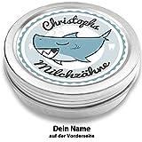 Milchzahndose | Haifisch Henri | personalisiert mit Namen | aus Metall | für Mädchen und für Jungs | Geschenk zur Einschulung, Taufe, Geburt (Blau)