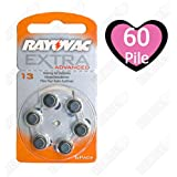 60x Rayovac Extra Advanced Typ 13 Hörgerätebatterien