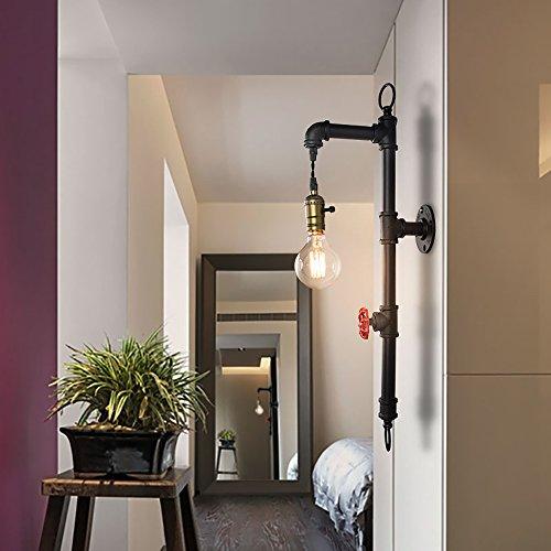 Single-lampe Wärme-lampe (Lingkai Vintage Industrial Loft Steampunk Single Head Kreative Eisen Wasser Rohr Wand Lampe mit E27 für Wohnzimmer Schlafzimmer Bar Dekoration)