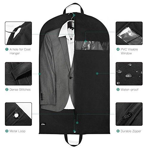 Kealive suit bag scarpe tasche shirt cover clothes bag facile da pulire, nero, 61* 104cm 40* 25.5* 11.3cm