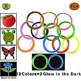 Título: Victorstar @ 3D Pluma de Filamentos de Recarga 1.75mm PLA 22 Colores Brillantes - 11 General + 1 Madera + 5 Fluorescente + 5 Brillo en los Colores Oscuros (10m por Rollo 220m en Total)