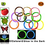 Victostar @ PLA 3D-Stift Filament Minen 14 Farben-140 Meter (459ft) / 12 Farben + 2 Farben leuchten im der Farbe Dunkel / Durchmesser 1,75 mm - 10 Meter Jede Rolle / Pflanze Harz Stoff und Kein Geruch besser zu Gesundheit