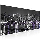 Bilder New York City Wandbild 100 x 40 cm Vlies - Leinwand Bild XXL Format Wandbilder Wohnzimmer Wohnung Deko Kunstdrucke Weiß 1 Teilig -100% MADE IN GERMANY - Fertig zum Aufhängen 601912c