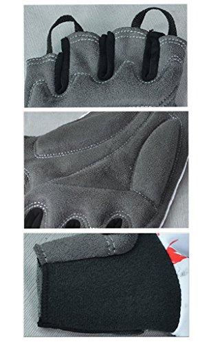 iCreat Damen / Herren Kurze Rennrad Handschuhe Power Fahrrad Active Gloves mit Geleinlage Schwarz, Größe XL - 7