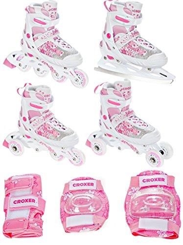 4in1 Inlineskates/Triskates/Rollschuhe/Schlittschuhe Croxer Aviana White/Pink 33-36(20,5cm-22,5cm) verstellbar + Schützer S