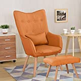 WarmieHomy Modern Occasional Chair Buttoned Linen Fabric Accent Chair with Footstool for Bedroom