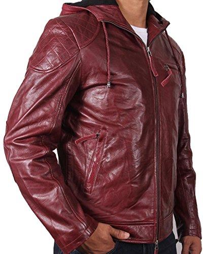 Herren Hooded Real Schaffell Burgund Bomberjacke aus echt Leder bikerjacke Burgund S-5XL Braun