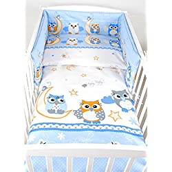 BABYLUX Bettwäsche Bezug 2 Tlg. 100 x 135 cm Kinderbettwäsche Bettwäsche Bettset Babybettwäsche EULE (53. Eule Blau)