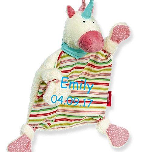 Sigikid Schmusetuch Einhorn bunt mit Namen bestickt Baby Geschenk zur Geburt Schnuffeltuch
